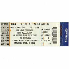 JOHN COUGAR MELLENCAMP Full Concert Ticket Stub WARFIELD 4/9/11 SAN FRANCISCO CA