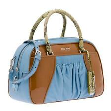 MIU MIU $3120 *CURRENT* Astral Blue+Cognac Top-Handle Satchel Handbag Bag NEW