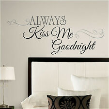Quote: ALWAYS KISS ME GOODNIGHT wall stickers room decor house inspirational