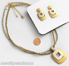 Premier Designs Signed Necklace Earring Set Gold & Silver Tone Double Pendant