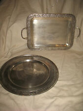 Pottery Barn Decorative Metal Trays Platters Display Set of 2