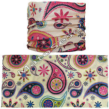 Beige Paisley Motorcycle Biker Face Neck Tube Wamer Multifunction Scarf Snood