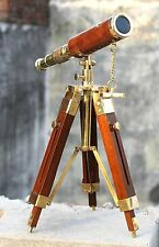 Marine Navy Nautical Handmade Brass Telescope With Wooden Tripod Vintage Scope