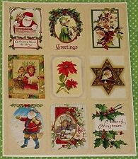 VINTAGE EUREKA CHRISTMAS SANTA CLAUS~HOLLY & BERRIES VICTORIAN STICKERS SHEET