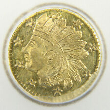 1858 California Gold Token Charm - Round Indian (MS60)