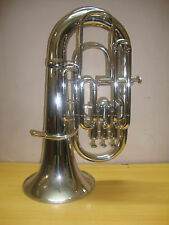 **HIGH GRADE! NEW SILVER CHROME PLATED Bb/F 4 VALVE FLAT EUPHONIUM+FREE CASE+M/P