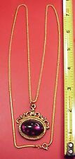 "Vintage Chain Amethyst Roman Soldier Pocket Watch Fob 26"" Chain Charm Pendant"