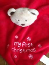 """Baby Hugs Mt First Christmas Blankie Comforter Soft Toy 10""""  square VGC gn"""