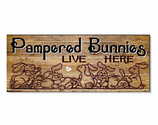 Pampered bunnies lapins signe plaque hutch maison mur jardin cage porte chargeur