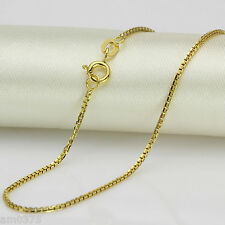 "Perfect 18K Yellow Gold Necklace/Perfect Box Chain Necklace 15.7""L"