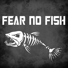 """Fear No Fish - LARGE - 8"""" x 5.75"""" - Fishing, Outdoors, Decal, Vinyl, Skeleton"""
