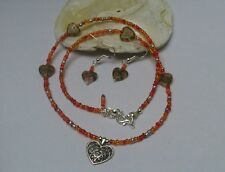 Reds oranges love seed beads HEART Boho Wicca NECKLACE EARRINGS Valentine's GIFT