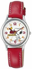 Peanuts Snoopy Watch CITIZEN Q&Q Red Analogue Quartz Lady Women Stainless steel