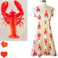 LOBSTER Novelty Print Catch of the Day ModCloth Dress S Shift Sea Animal Cream