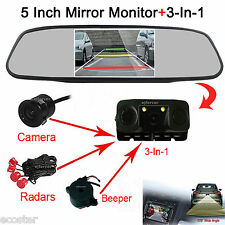 "Backup HD Camera & Radar Sensor + 5""Car Reverse Rear View Mirror Display Monitor"