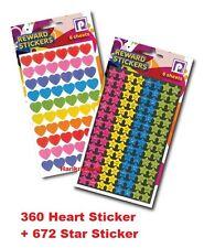 1000 Children's Reward Stickers Heart Star Motivation Kids Teacher School -P2450