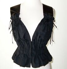 CAROLINA HERRARA Black Brocade Velvet Strap Open Back Top 4