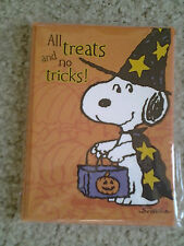 """SNOOPY as WIZARD """"ALL TRICKS NO TREATS"""" pack of 10 HALLOWEEN PARTY INVITATIONS"""