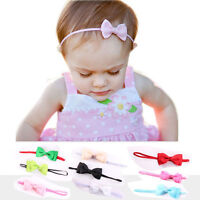 BABY BOW SATIN RIBBON ELASTIC HEADBAND HAIR ACCESSORIES FOR TODDLER BABY GIRL UK