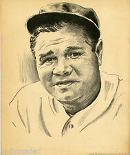 1948 Babe Ruth Hillerich & Bradsby Memorium Vintage Litho Yankees Red Sox Rare!