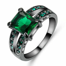 Vintage Princess Cut Green Emerald Wedding Ring 10KT Black Gold Filled Size 9
