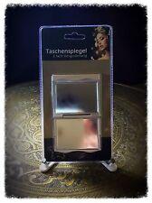 Taschenspiegel, Klappspiegel 7 x 6 cm silber incl. 3 Parfumproben zum testen