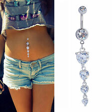 14G Sexy Clear Crystal Love Hearts Long Dangle Belly Button Navel Ring Piercing