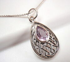 Small Celtic Purple Amethyst Pendant 925 Sterling Silver Corona Sun Jewelry