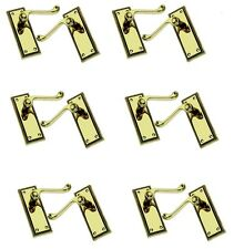 6 Pairs of Brass Finish Georgian Scroll Door Handles Without Keyhole (33121)