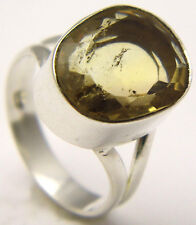 Vintage Sz7 Ring w/Oval Transparent Yellow Citrine Stone 925 Sterling Silver