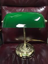 "Traditional Incandescent Banker's Lamp, Green Glass Shade, 14"" Brass Base"
