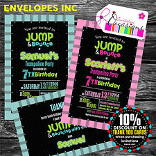 Personalised Childrens Trampoline Party Invitations or Thank You Notes x 5
