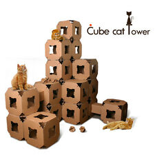 DIY Cube Cat Tower Tree House Pet Condo - 5 Cubes
