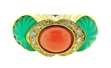 GORGEOUS Cartier 18k Yellow Gold, Carved Chrysophrase, Coral & Diamond Ring!