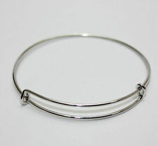 Wholesale Expandable Wire Bangle Bracelet Adjustable Gold Silver Tone Charms DIY