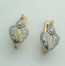 14K TWO TONE YELLOW GOLD WHITE GOLD DIAMOND CHILDREN'S HEART EARRINGS RUSSIAN