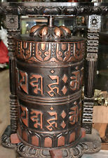 Tibetan Prayer Wheel Big Handmade om mani padme hum - Wall Hanging 23'' Nepal .