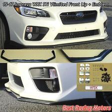 15-17 Subaru WRX Vlimited Front Bumper Lip + Aluminum WRX Emblem