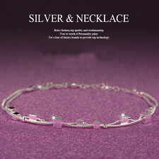 New Women Fashion 925 Sterling Silver Cuff Charm Chain Bracelet Jewelry
