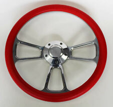 "Chevelle Nova Camaro Impala 14"" Steering Wheel Red Billet Chevy Bowtie Cap"