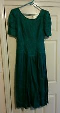 Women's Dress Marie St. Claire Size 8 Green Formal Ramie Short Sleeve