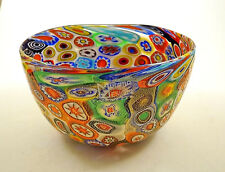 "NEW MURANO MILLEFIORI COLORFUL BOWL ITALIAN ARTGLASS MADE IN MURANO ITALY 5 "" W"