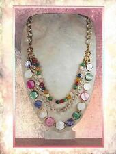"""Multi Color Mother of Pearl & Gemstone """"Confetti"""" 3 Tier Statement Necklace 9112"""
