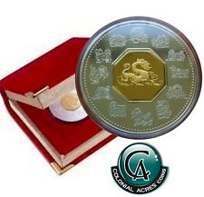 2000 Canada Year of the Dragon $15 Lunar Silver/Gold Coin