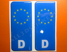 2x3D Sticker Resin Domed Euro GERMANY Number Plate Car Badge Adhesive Decal