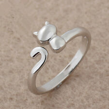 Silver tone kitten kitty cat open ring, UK Size L
