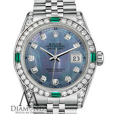 Ladies Rolex Datejust 31mm Stainless Steel Tahitian MOP Emerald Diamond Watch