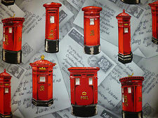 CLEARANCE   FQ LONDON UK BRITISH RED LETTER POST BOXES FABRIC RETRO KITSCH MAI
