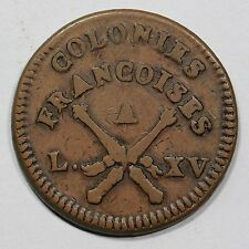 1767 French Colonies Copper Sou - Not Counterstamped, Double Struck Ex; Griffee