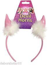 Devils cuernos para Mujeres Niñas Rosa Hen Noche Diadema Accesorios de Halloween